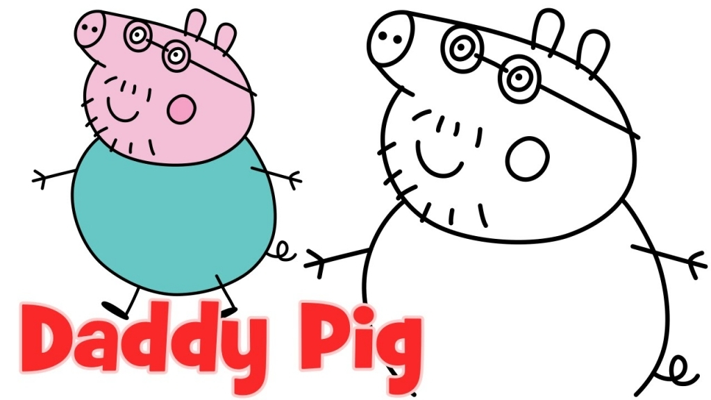 1024x576 How To Draw A Pig How To Draw Peppa Pig Family Daddy Step Step