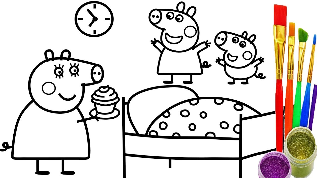 1280x720 How To Draw Peppa Pig Cup Cake Coloring Pages Teach Kid Drawing