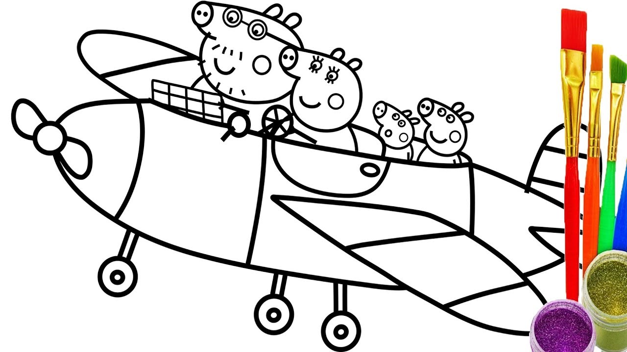 1280x720 How To Draw Peppa Pig Family Fly Coloring Pages Teach Kid Drawing