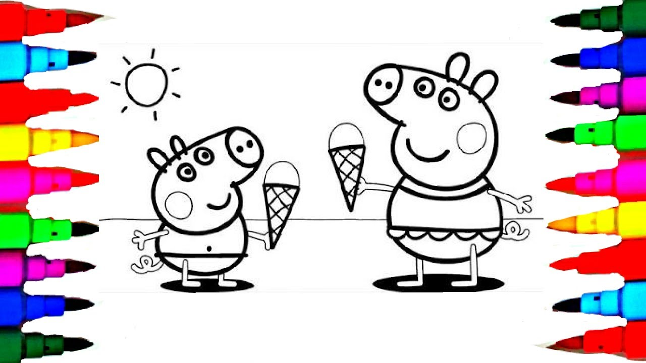 1280x720 Learn Art L How To Draw And Color L Peppa Pig Drawing Coloring