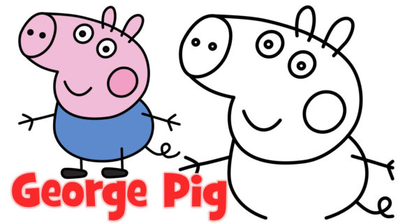 570x320 Peppa Pig Step By Step Drawing How To Draw Peppa Pig Family George