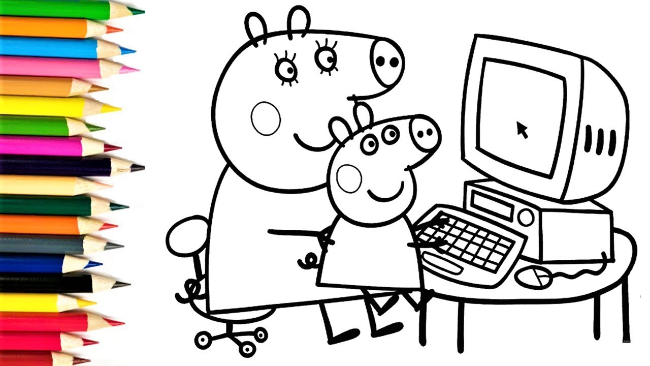 1280x720 Awesome Peppa Pig Coloring Pages How To Draw Computer Pict