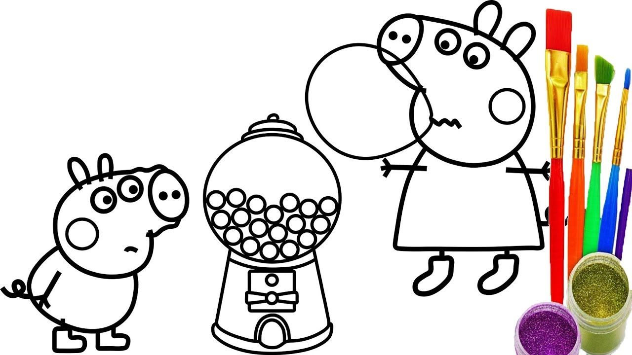 1280x720 How To Draw Peppa Pig Gumball Machine Coloring Pages Kid Drawing