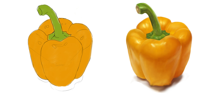 830x365 Drawing A Realistic Yellow Pepper