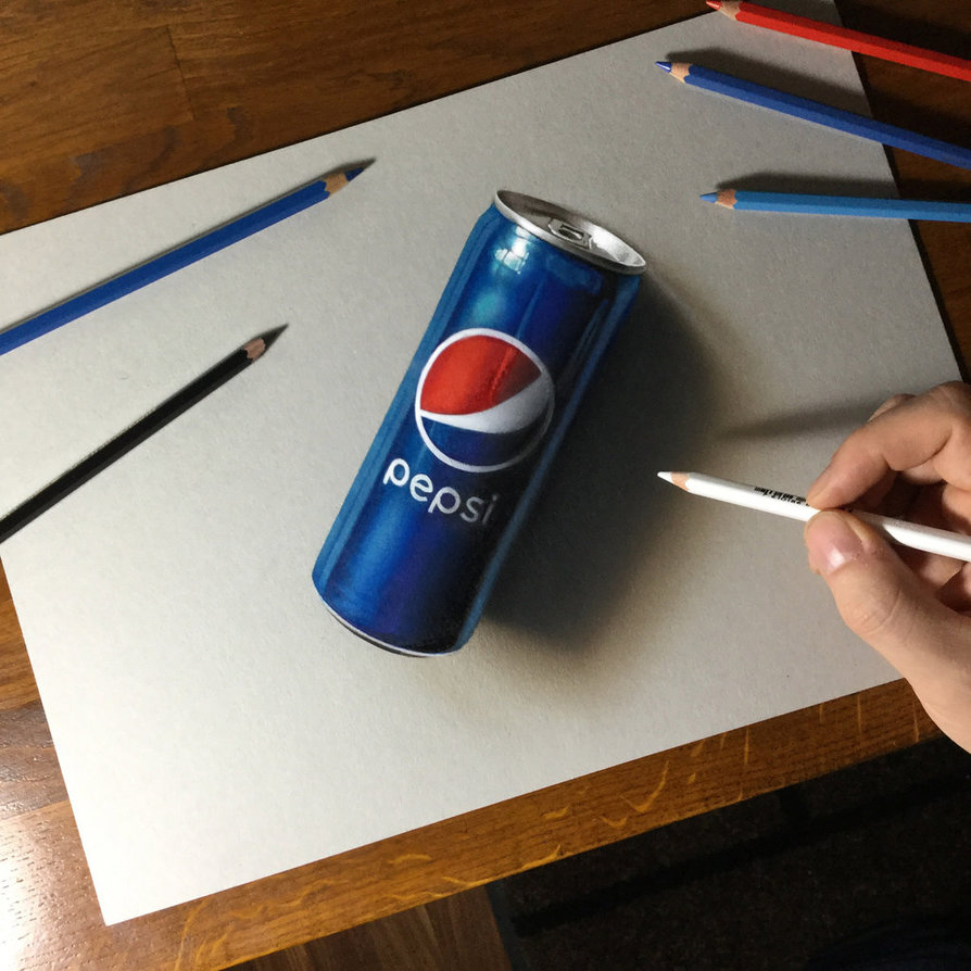 894x894 3d Drawing Pepsi Can By Marcellobarenghi