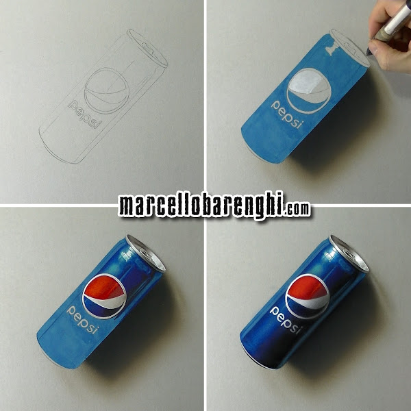 600x600 3d Drawing Of A Pepsi Can By Marcello Barenghi, Mixed Media