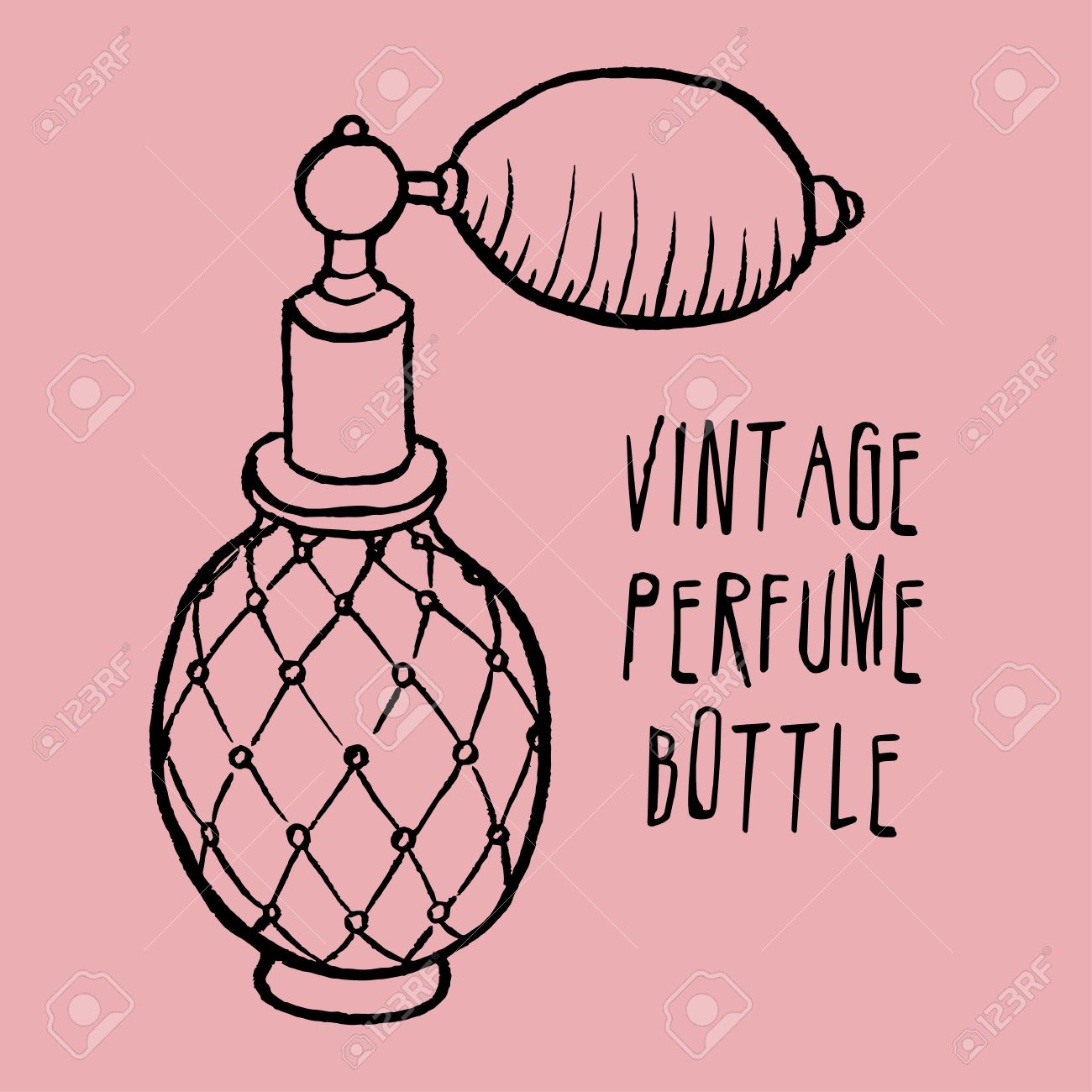 1300x1300 Pen And Ink Drawn Vintage Perfume Bottle Royalty Free Cliparts