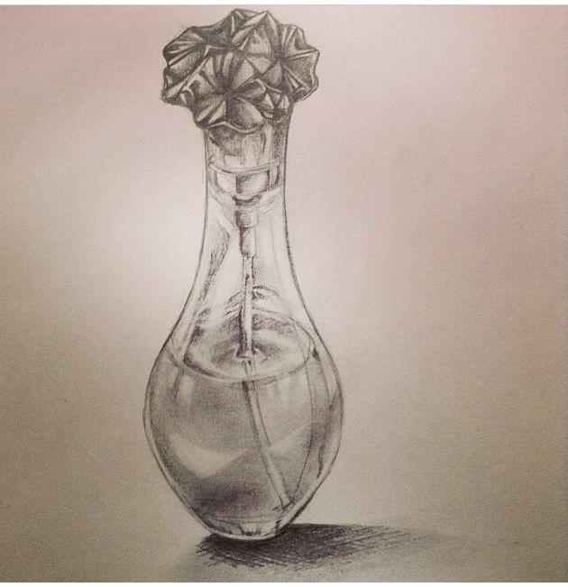 630x651 Perfume Bottle Drawing By Tariah23