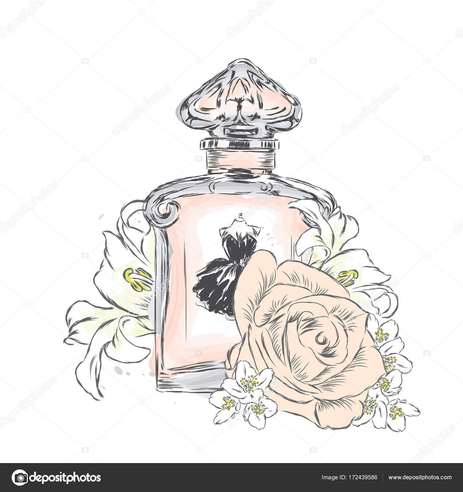 1600x1700 Perfume Bottle And Bouquet Of Flowers.vector Drawing. Stock