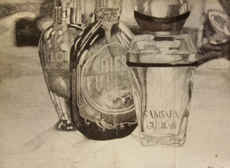 770x563 Saatchi Art Still Life (Perfume Bottles) By Tiegan (Y11) Drawing