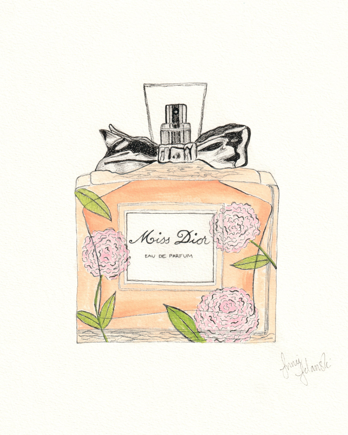 1200x1500 Miss Dior Perfume Drawing Print Pen And Ink With Watercolor