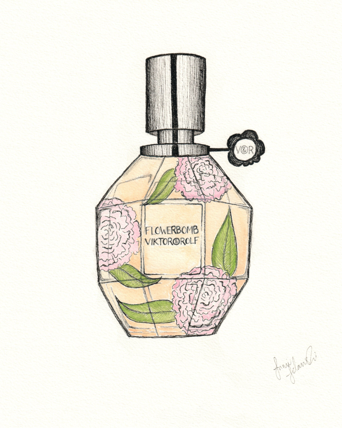 1200x1500 Viktor And Rolf Flowerbomb Perfume Drawing Print Pen And Ink