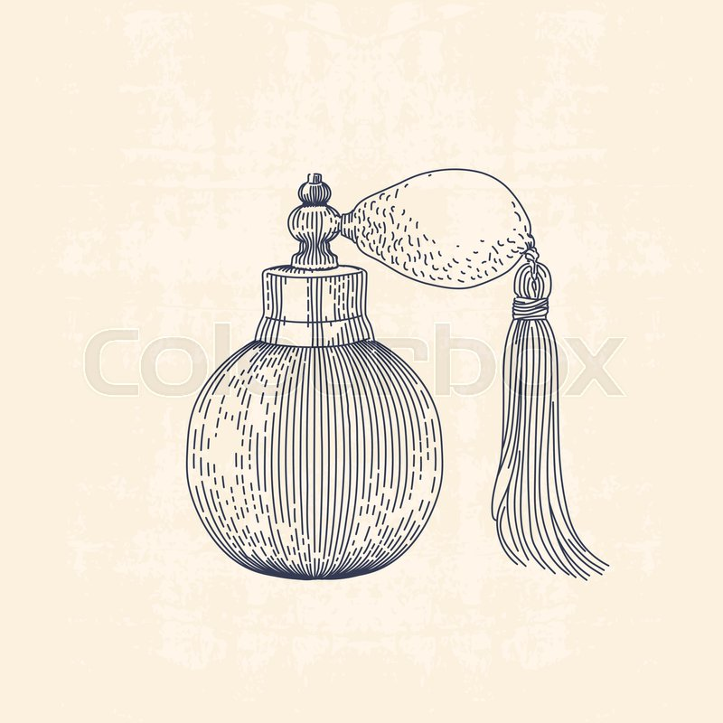 800x800 Vintage Line Drawing Illustration Of Perfume, Old Fashioned Spray