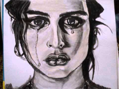 480x360 Emotional Charcoal Drawing Of A Crying Girl