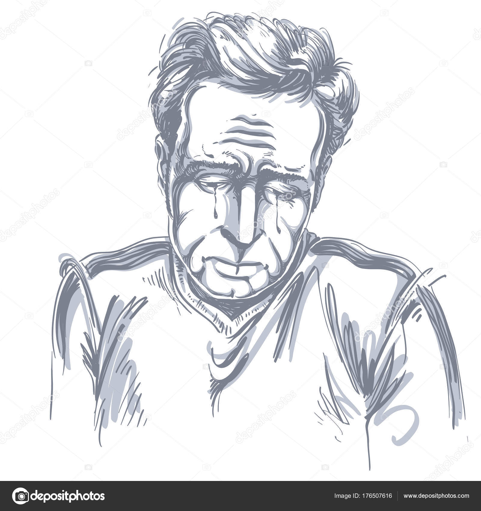 1600x1700 Vector Drawing Crying Depressed Man Feeling Sorry Something Black