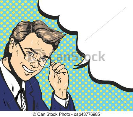 450x395 Man In Glasses Pop Art Speech Bubble Vector Illustration