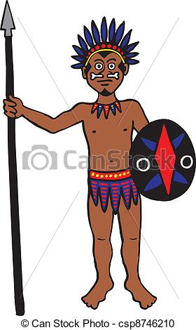 280x470 Tribal Man. Tribal Warrior With Spear And Shield Vector Clipart