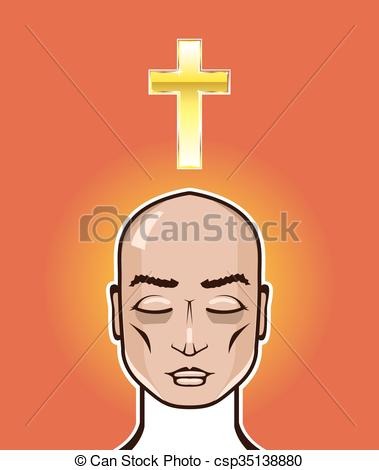 379x470 Praying Person Gold Cross Meditation Illustration Vector