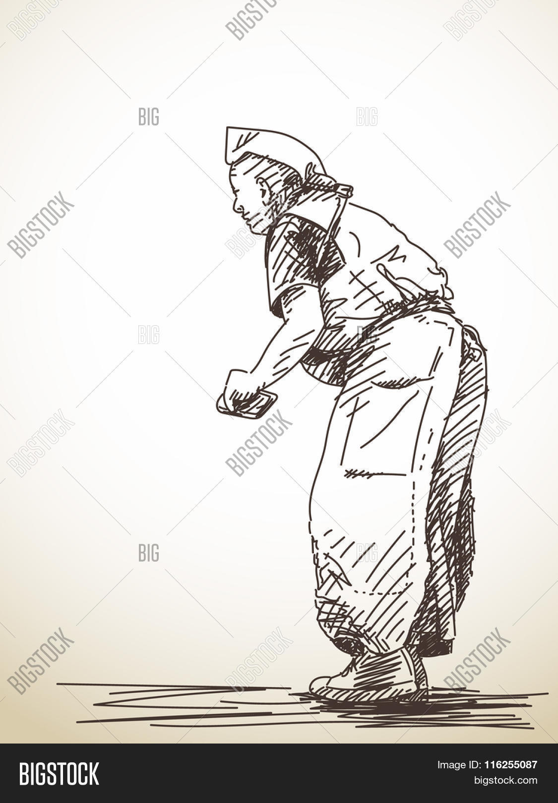 1125x1620 Sketch Praying Buddhist Man, Hand Vector Amp Photo Bigstock