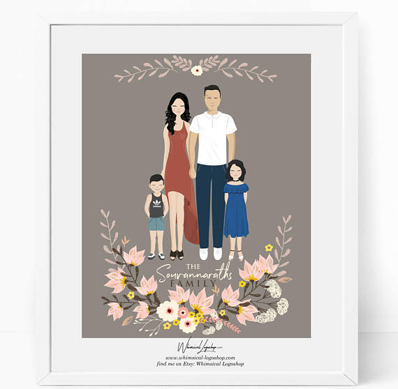 570x558 Custom Family Portrait Illustration Digital Drawing.