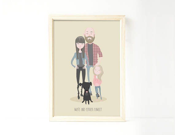 570x442 Custom Family Portrait Illustration Personalized Drawing