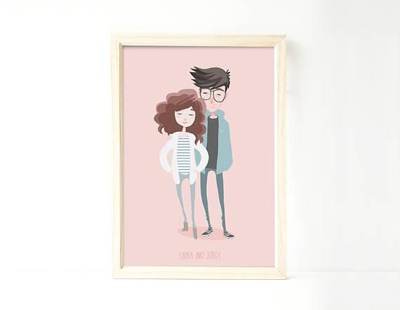 570x442 Custom Portrait Of Couple Custom Couple Illustration