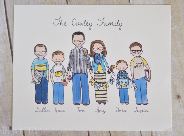640x473 Personalized Family Portrait Drawing