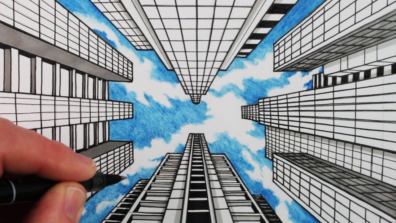 1280x720 How To Draw 1 Point Perspective Draw Buildings And Sky
