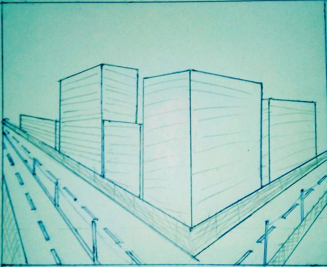 670x548 How To Draw Buildings In Perspective 9 Steps (With Pictures)
