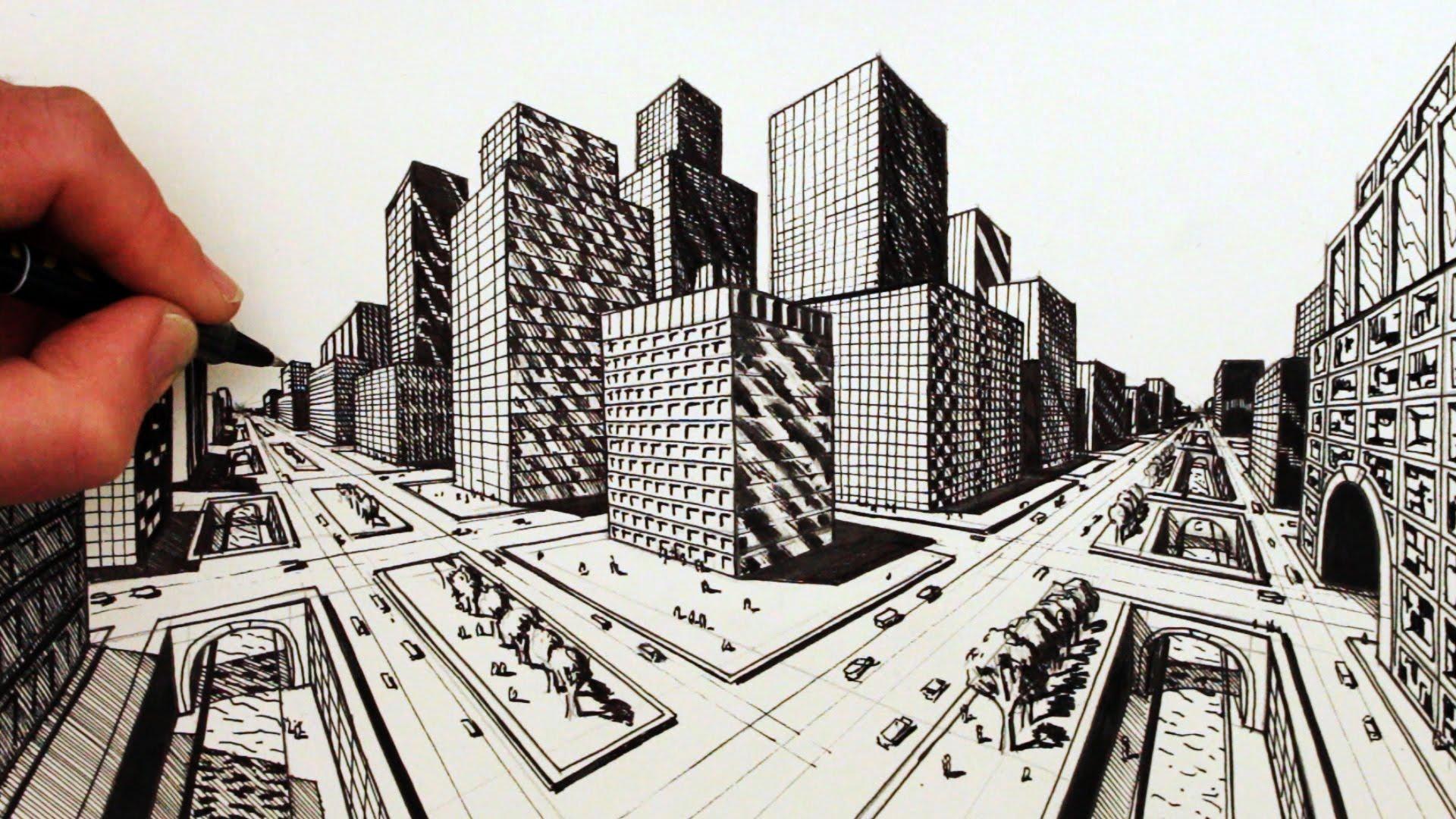 Perspective Buildings Drawing at GetDrawings | Free download