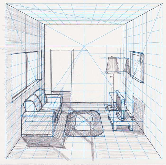 700x697 Room In Perspective Withgrid Drawing With A Perspective Grid