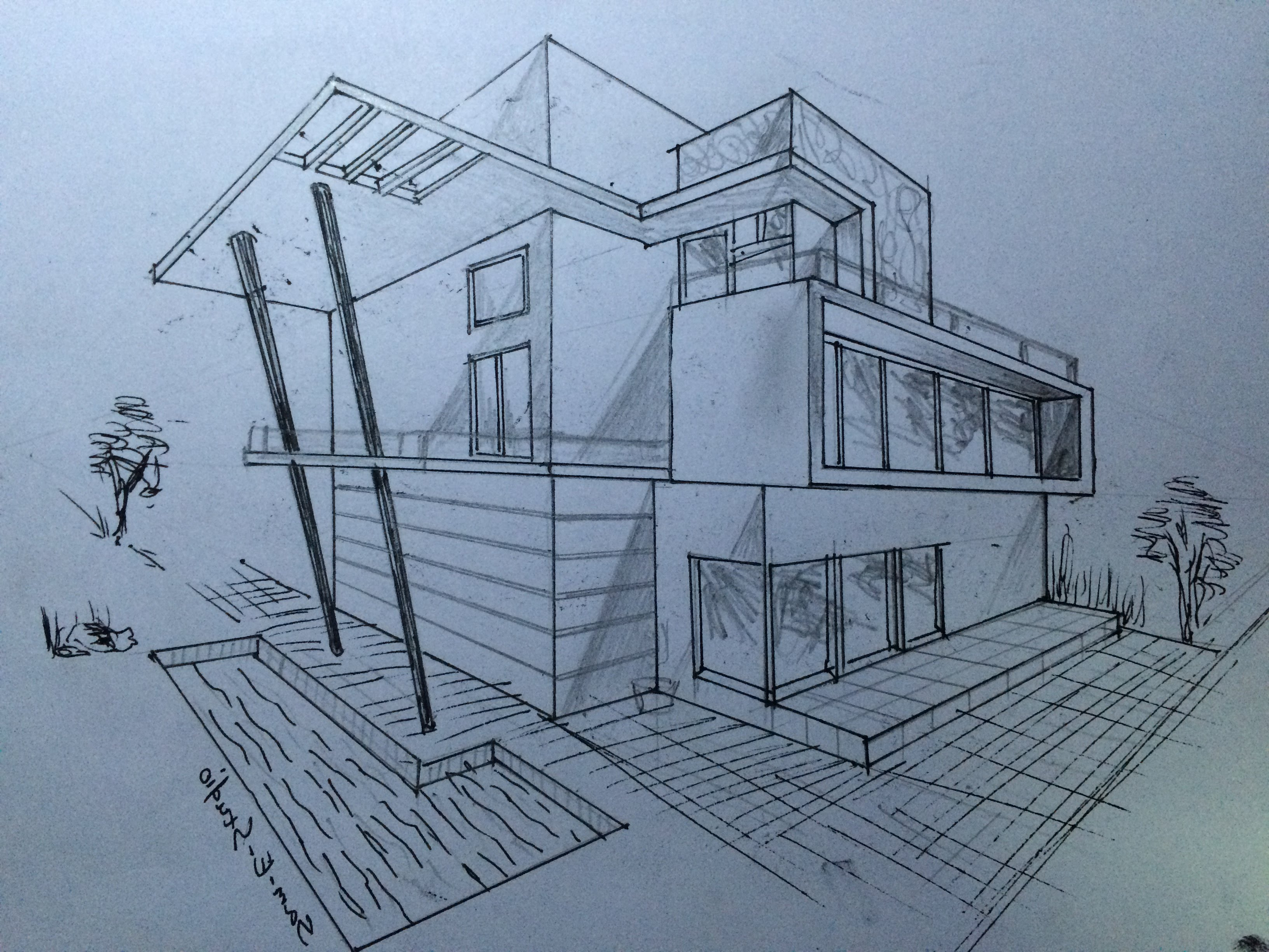 Amazing 3264x2448 3D Perspective House Drawing Pencil Architecture Modern House