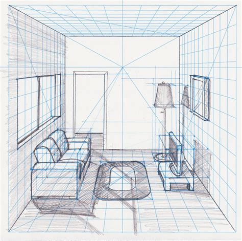 474x471 Homework One Point Perspective Room Drawing Perspective