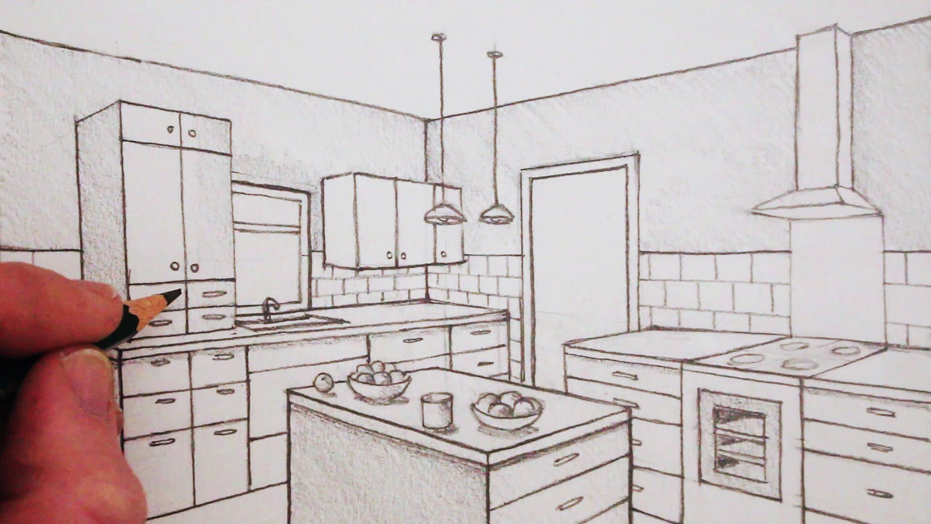 1920x1080 How To Draw A Room In Two Point Perspective Time Lapse