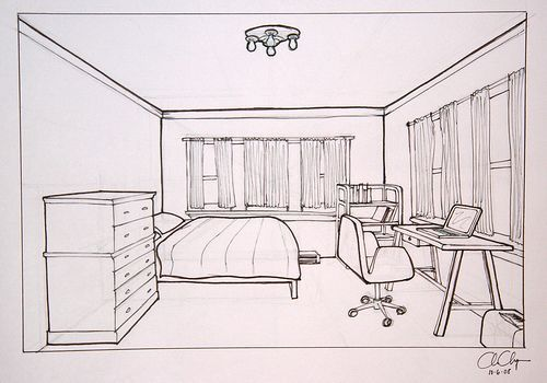 500x350 Objective Create A One Point Perspective Drawing Of Your Bedroom