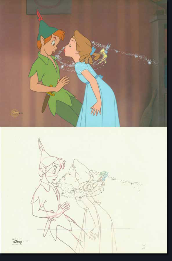 593x897 Peter Pan And Wendy Kiss Peter Pan Wendy And Tinker Bell Taken