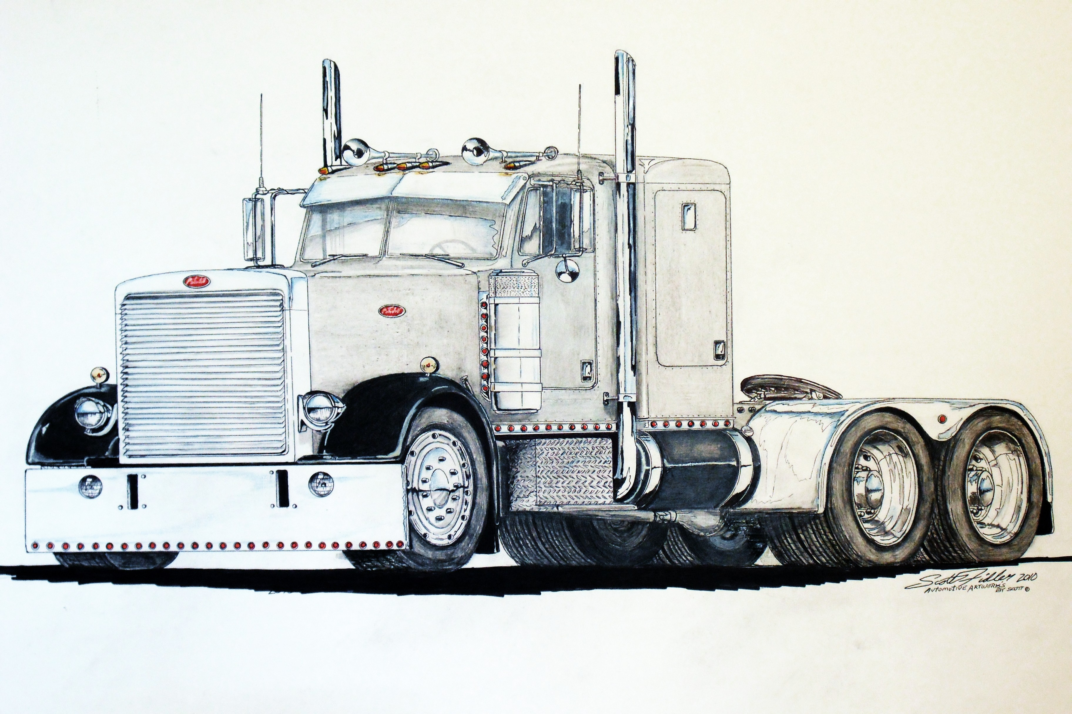 Peterbilt Semi Truck Drawings - Worksheet & Coloring Pages