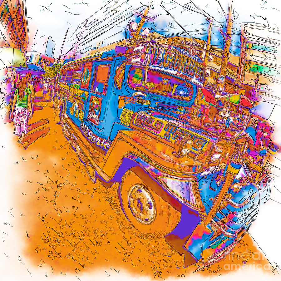 900x900 Philippine Girl Walking By A Jeepney Drawing By Rolf Bertram