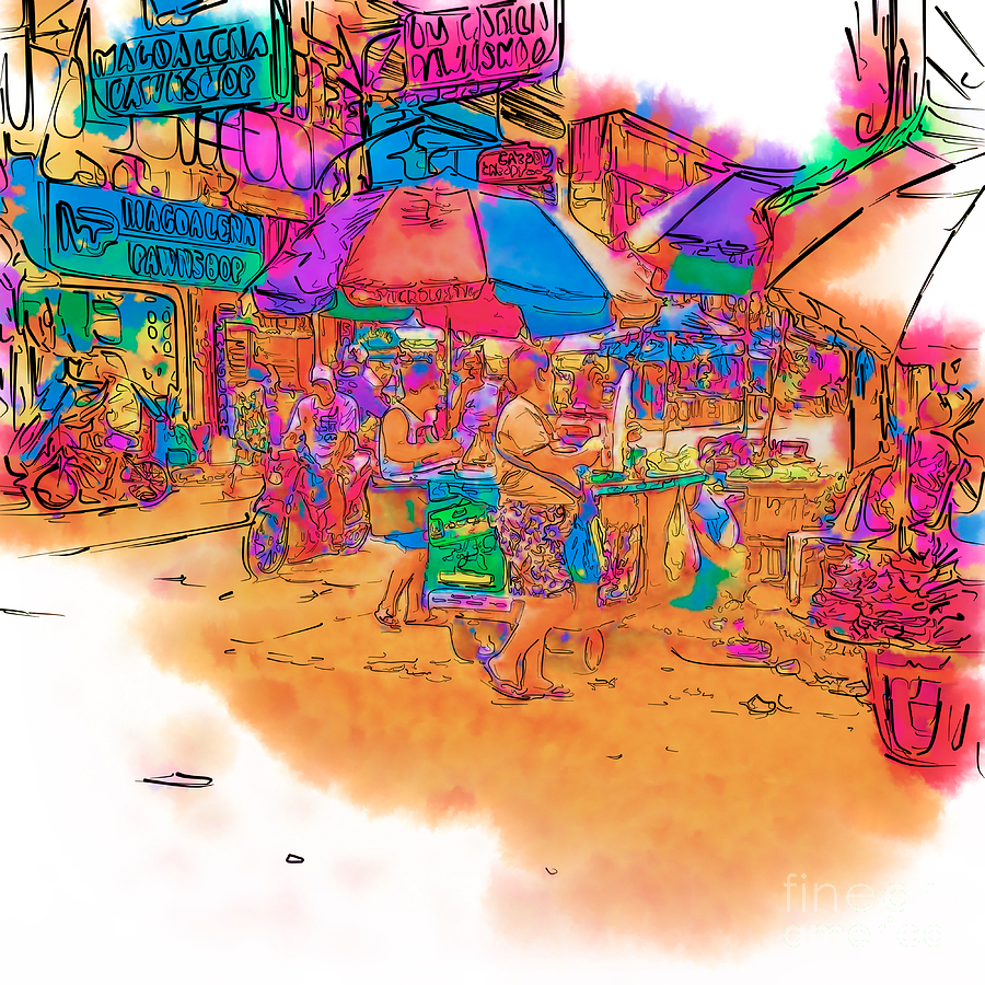 900x900 Philippine Open Air Market Drawing By Rolf Bertram