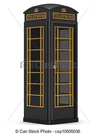 337x470 Black Phone Booth Stock Illustration