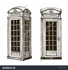 236x240 Drawing Of An English Phone Booth