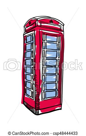299x470 London Red Phone Booth Hand Drawn Isolated Icon. English