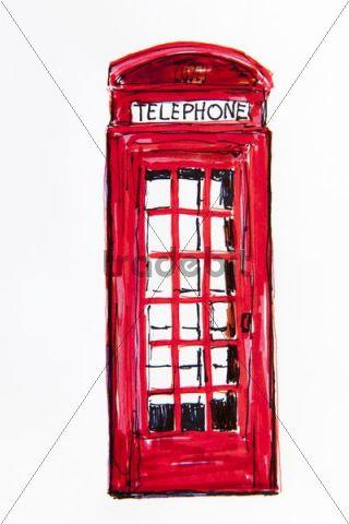 320x480 Old English Phone Booth, Drawing, Artist Gerhard Kraus, Kriftel, Ge