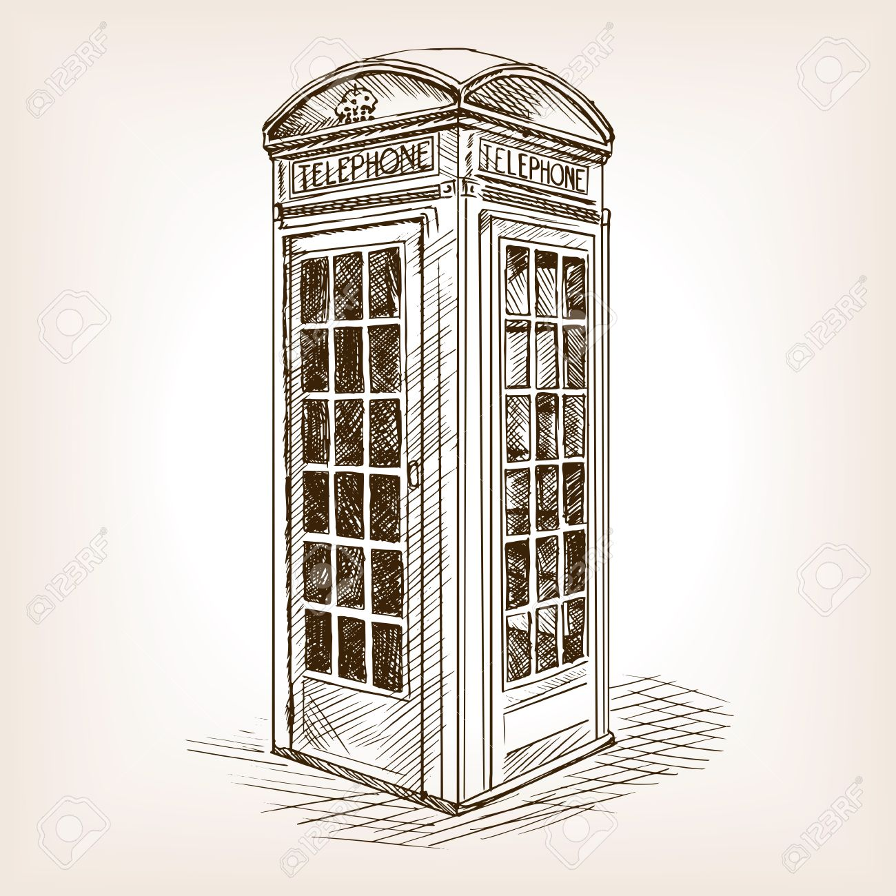 1300x1300 Vintage London Phone Booth Sketch Style Vector Illustration