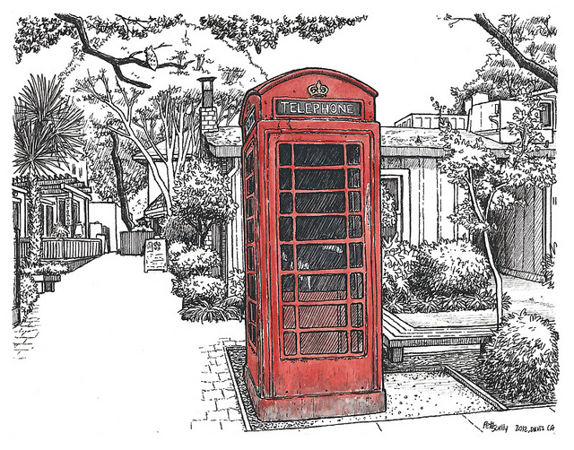 640x502 Phone Booth On D St Sketches, Sketchbooks And Drawings