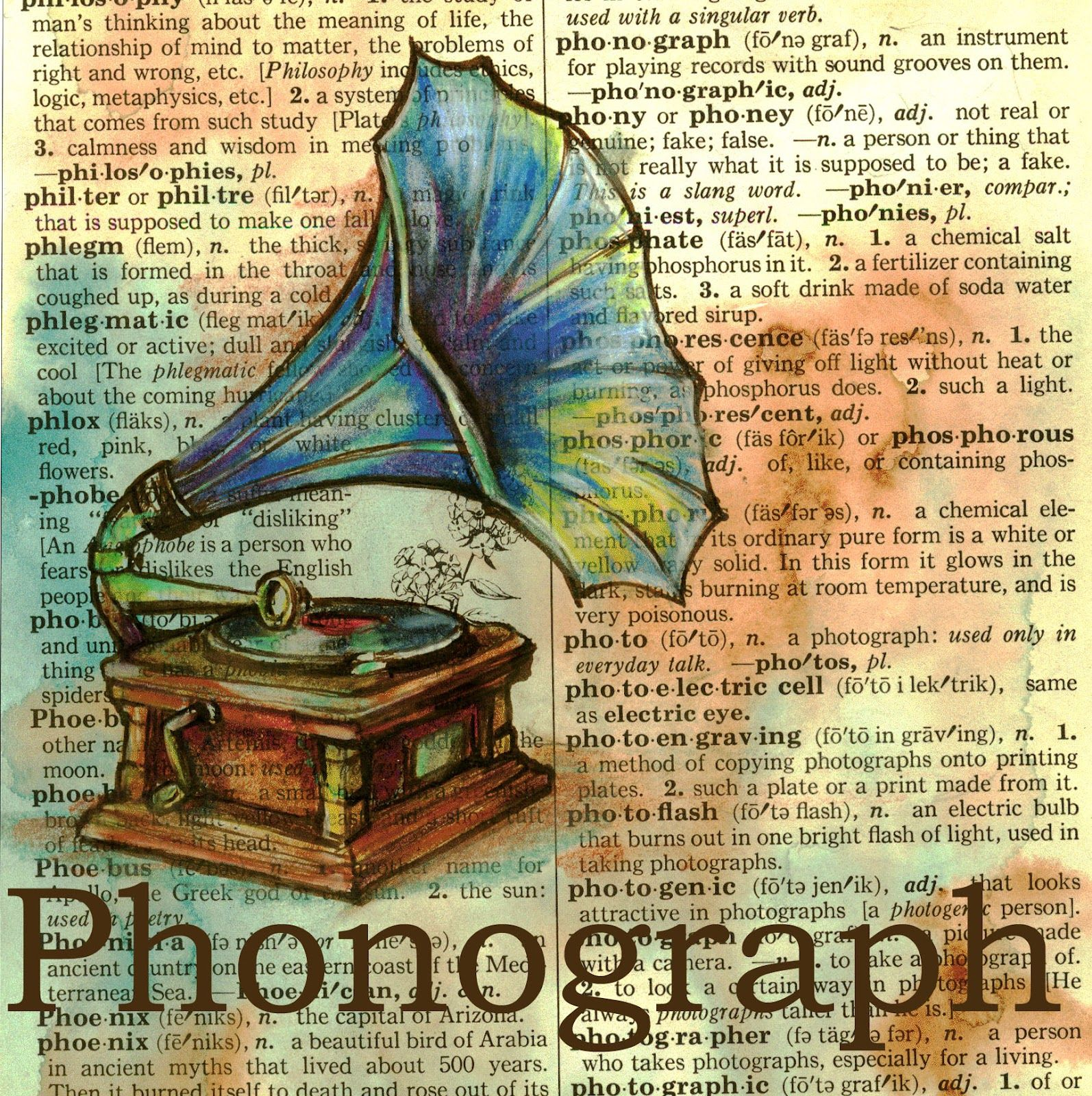 1594x1600 Flying Shoes Art Studio Phonograph On Distressed, Dictionary Page