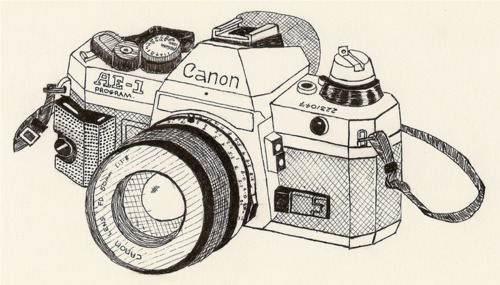 500x285 Drawn In Black And White Canon Camera. Vintage Camera