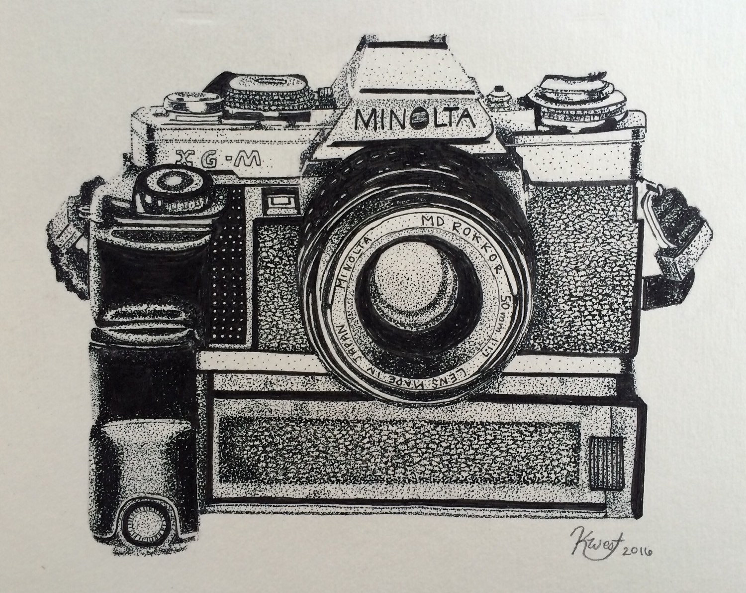 1500x1191 Pointillism Drawing Of Minolta Xg M Camera