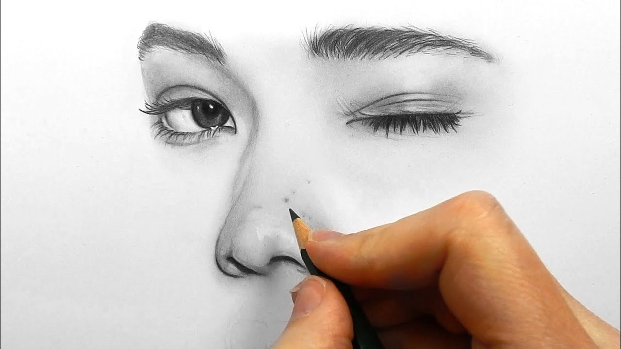 1280x720 Drawing, Shading And Blending A Minimalistic Face With Graphite