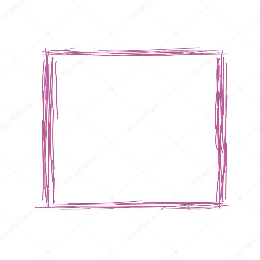 1024x1024 Pencil Doodle Drawing Of A Simple Frame Stock Vector
